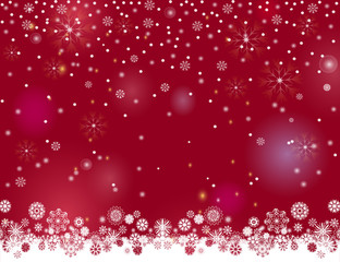 Falling snow magic border on a dark wine background. Abstract winter night lights blurry background for your Merry Christmas and Happy New Year design. Vector holiday illustration. Place for your text