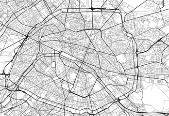 Vector city map of Paris in black and white