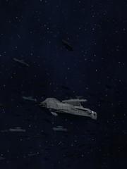 Space Opera: Armada of Battleships 3d Illustration