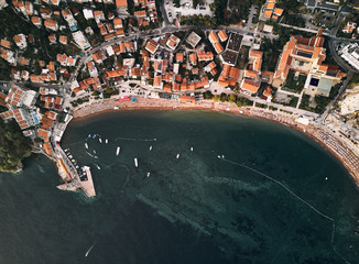 Montenegro. Orange roofs of the old town. The view from the top. Adriatic sea. Bay of Kotor