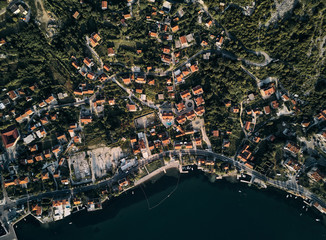 Montenegro. Orange roofs of the old town. The view from the top. Photography on drone.
