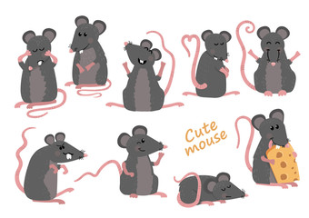 Set of cute mice in various poses in cartoon style
