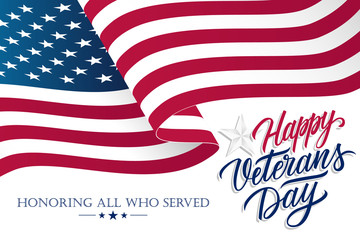 United States Veterans Day celebrate banner with waving american national flag and hand lettering text Happy Veterans Day. Vector illustration.