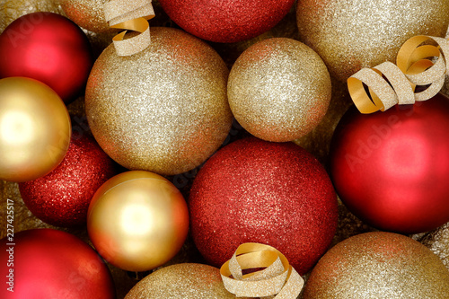 Sparkle Red And Gold Christmas Ornaments Background Stock Photo And
