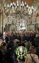 People attend the funeral service of killed Bulgarian journalist Viktoria Marinova in Holy Trinity Cathedral in Ruse