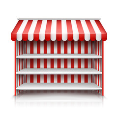 Vector realistic illustration of market stall with red and white striped awning isolated on background. Mockup of stand with canopy, empty showcase with metal racks and shelves for street trading