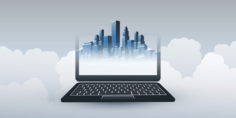Smart City, Automated Digital Control and Future Technology Concept Design with City Skyline, Clouds and Laptop - Vector Illustration