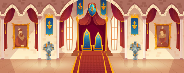 Vector castle hall with two thrones for king and queen. Interior of ballroom with guards in knight armor for royal family. Medieval palace with flags. Fantasy, fairy tale or game background.