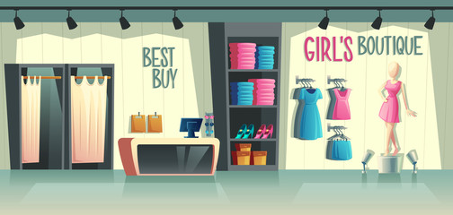 Vector girls boutique. Female clothing shop interior - wardrobe with clothes, cartoon mannequin in dress and stuff on hangers. Cashbox with table, fashion store with illumination in a mall.