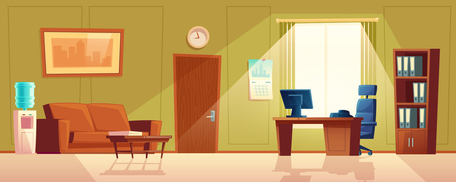 Vector cartoon illustration of empty office, reception desk with window. Modern interior with cooler, sofa for waiting. Computer on wooden table, folders in closet and black chair. Lobby for customers