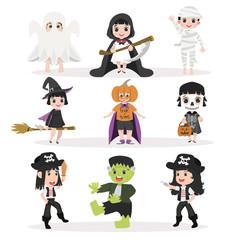 Funny kid Halloween character set