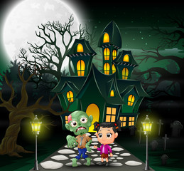 Happy halloween zombie cartoon in front of the haunted house with full moon background