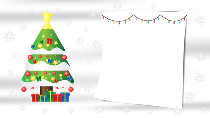 Christmas tree snowflake gift composition on white silk background with copy space for your text.