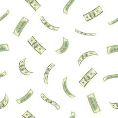 Money illustration. Detailed falling US hundred dollar banknotes. Isolated