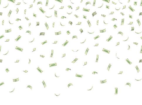 Finance concept. Money rain. Falling hundred dollar banknotes isolated on white background. 10 EPS vector illustration