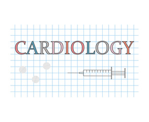 cardiology word on checkered paper sheet- vector illustration