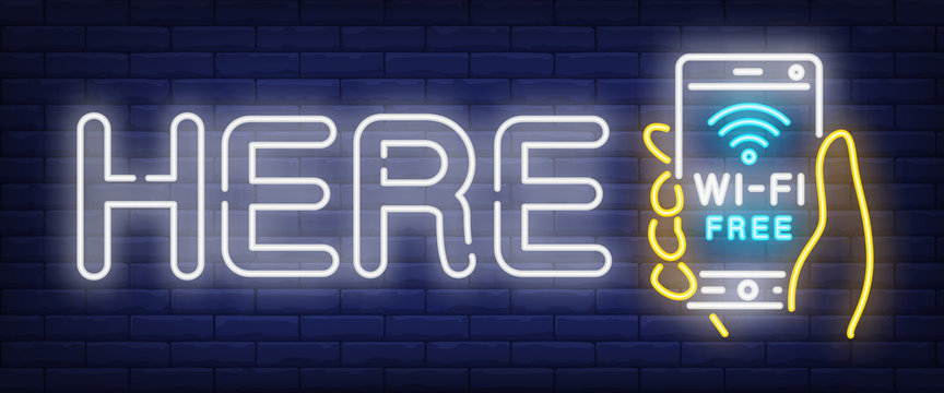 Here wifi neon sign. Hand holding smartphone with wi-fi free text on brick wall background. Vector illustration in neon style for internet and public spaces