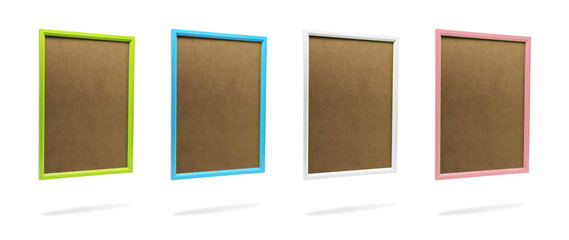 Blank colorful photo frame template set on isolated background with clipping path. Simple plastic border for your design.