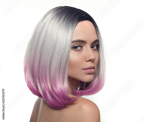 Ombre Bob Short Hairstyle Beautiful Hair Coloring Woman Trendy