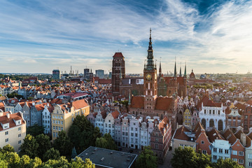 Gdansk aerial view, city panorama in the morning with Bazylika Mariacka