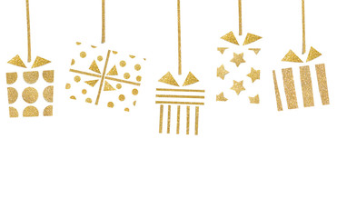 Gift boxes hanging paper cut on white background - isolated