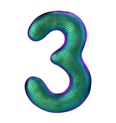 Number 3 three made of natural green snake skin texture isolated on white