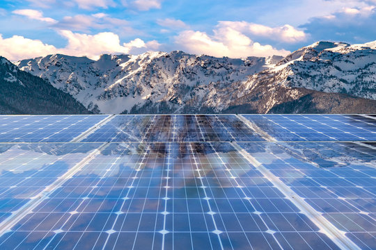 Solar panel over  mountain background. solar power green energy for life concept
