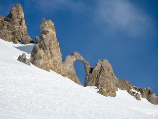 The Aiguille percee, a needle of rock with a large hole, in Tignes, the Alps, France