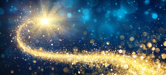 Christmas Golden Star In Shiny Night