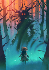 Deurstickers Grandfailure little girl and the witch looking each other in a forest, digital art style, illustration painting