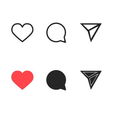 Set of heart, comment and message icons