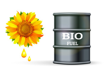 Metal barrel with bio fuel and drop oil of sunflower on white background vector. Biofuel plants concept