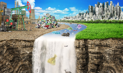 Concept of global pollution. The river carries rubbish from the industrial city in the nature background