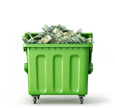 Concept of global garbage recycling. Cash in trash container isolated on a white background