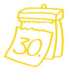 Handgezeichneter Kalender - Tag 30 in gelb