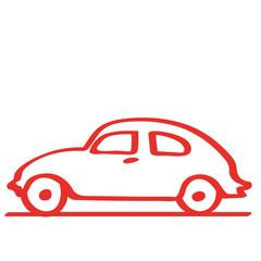 Handgezeichnetes Auto - Seitenansicht in rot