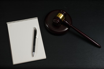 Blank open book with gavel
