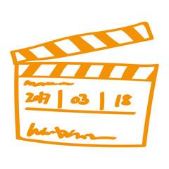 Handgezeichnete Filmklappe in orange
