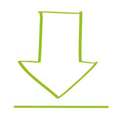 Handgezeichneter Download-Pfeil in hellgrün