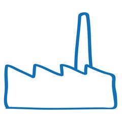 Handgezeichnete Fabrik in dunkelblau
