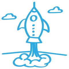 Handgezeichnete Rakete in blau
