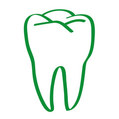 Handgezeichneter Zahn in grün