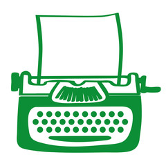 Handgezeichnete Schreibmaschine in grün