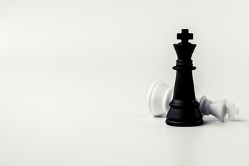 black and white king chess stand on white background.