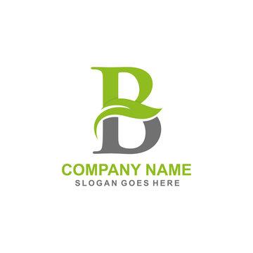 Letter B leaf initial logo template
