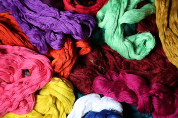 Colorful silk thread bundle, ready for fabric production
