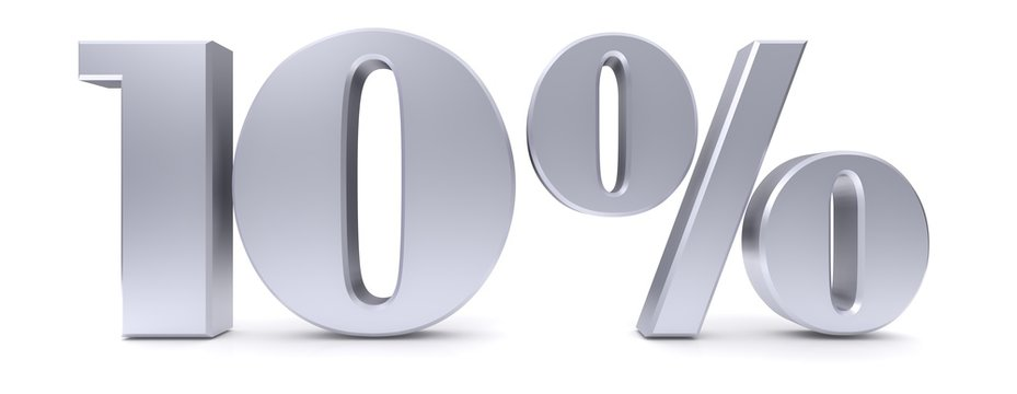 10 % percent sign 3d silver discount sale sign interest rate symbol savings price reduction tag label isolated