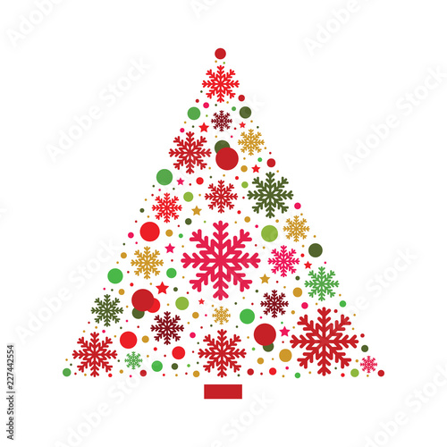 Xmas greeting card. Winter decoration. Christmas tree vector ...