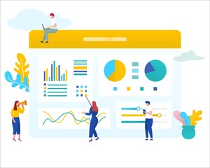 vector illustration group of people learning business analysis data, seo concept, can be use for landing page, web, ui, banner, poster, template, flyer, wallpaper