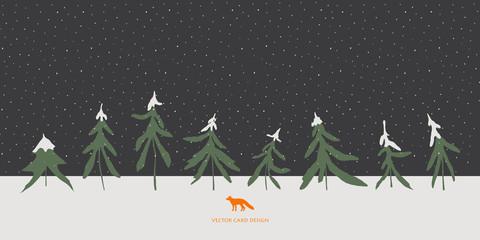Vector illustration. Winter fir trees and fox silhouettes on the skyline. Night snowfall .